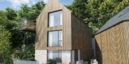 Cormorant Development Sandpiper house, wooden cladding and large glass windows.