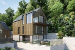 Cormorant Development Sea Osprey house wooden cladding and large glass windows and balcony,
