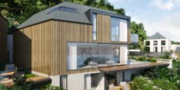 Cormorant development Turnstone House. wooden cladding and large glass windows.