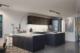 CGI interior of a luxury property showing kitchen