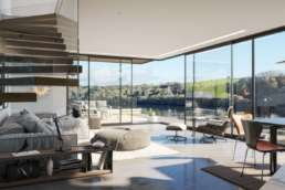 CGI interior of a luxury property showing lounge area with view of Fowey estuary